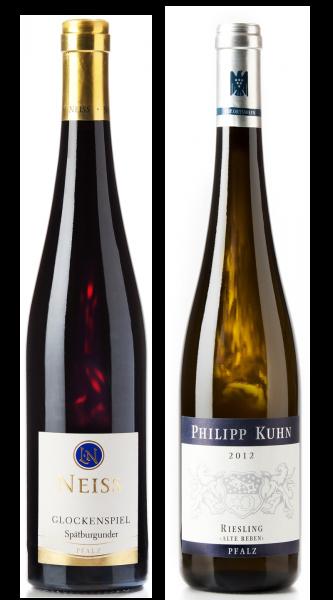 Weingeschenk Pfalz Philipp Kuhn Riesling Alte Reben Neiss Spätburgunder Glockenspiel