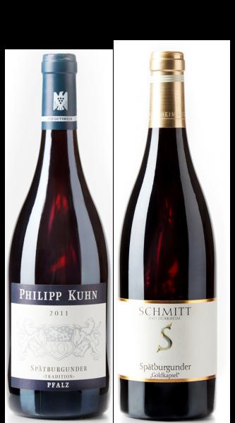 Weingeschenk Spätburgunder Philipp Kuhn Tradition Egon Schmitt Goldkapsel