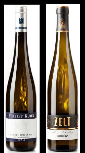 Weingeschenk Weisswein Philipp Kuhn Weisser Burgunder vom Kalksteinfels Zelt Chardonnay Laumersheime