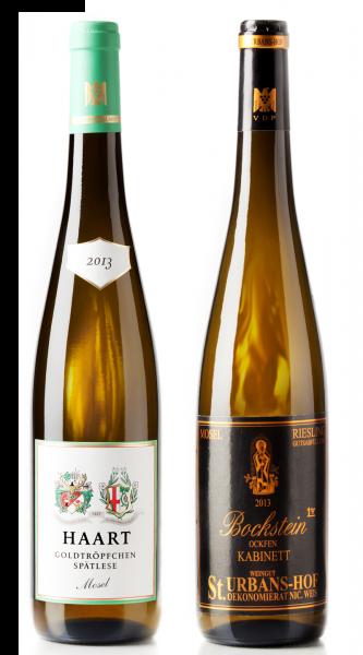 Weingeschenk Moselriesling Haart Goldtröpfchen Spätlese Urbans-Hof Ockfener Bockstein Kabinett