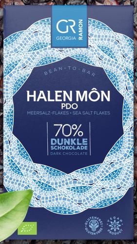 Bio-Halen Mon Meersalz-Flakes 70 % - Dunkle Schokolade